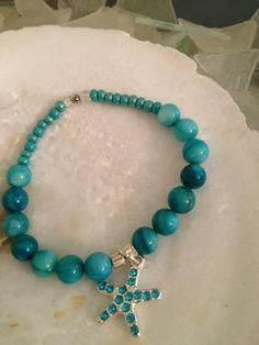 Aqua glass bead bracelet w/ starfish charm by WSJ