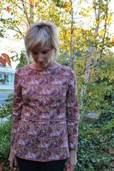 Kanerva button back shirt in Liberty fabric
