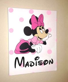 """Hand Painted Canvas Art Minnie or Mickey Mouse by AllysCustomArt, $28.00Hand Painted Canvas Art Minnie or Mickey Mouse and a Custom Name Design Hanging Art for Kids and Nursery Room Walls 11""""x14"""" Stretched Canvas"""