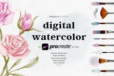 Digital Watercolor Kit includes carefully crafted watercolor brushes, and ready to use .procreate templates with paper effects layers which allow you to create realistic watercolor Watercolor Paper Texture, Watercolor Kit, Watercolor Brushes, Watercolor Flowers, Watercolor Paintings, Brush Kit, Wedding Videos, Design Bundles, Templates