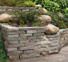 DIY Landscaping U0026 Garden, Masonry Projects   How To Build A Stacked Stone  Retaining Wall