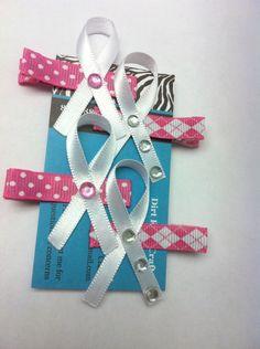 Breast Cancer Awareness Alligator Clip Bow - Set of 4. $3.99, via Etsy.