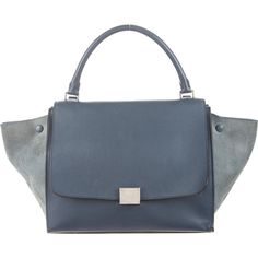Celine Textured Leather Medium Trapeze Tote (2 010 AUD) ❤ liked on Polyvore featuring bags, handbags, tote bags, blue, blue handbags, man bag, blue purse, tote handbags and blue tote