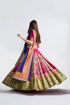 Colorful Bridal #Lehenga by Debyani & Divya's Studio Petticoat https://www.facebook.com/StudioPetticoat