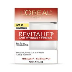 RevitaLift Anti-Wrinkle + Firming Day Cream SPF 18 moisturizer by L'Oreal Paris. Anti-aging retinol facial cream delivers firmer skin while SPF sunscreen protects from sun.