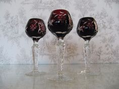 Vintage Liquor Wine Glass Ruby Red Cut To Clear Bohemian Crystal Grape