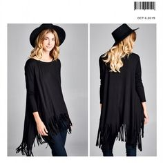 GORGEOUS TRENDY FRINGE TUNIC FRINGE IS IN THIS SEASON!!! 3/4 SLEEVE SCOOP NECK FRINGE TUNIC. FABULOUS! 95%RAYON 5% SPANDEX Tops Tunics