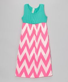 Another great find on #zulily! Teal Pink Chevron Maxi Dress - Infant, Toddler & Girls by Just Kids #zulilyfinds