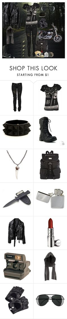 """""""Road Trip"""" by droogie-girl ❤ liked on Polyvore featuring Harley-Davidson, Denim of Virtue, Abbey Dawn, River Island, By Terry, Polaroid, H&M and Aspinal of London"""