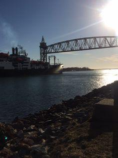 MMA ship almost under the railroad bridge