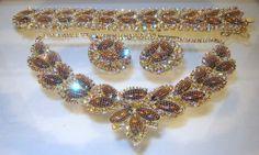 Vintage Kramer Topaz Rhinestone AB Netted Necklace Bracelet Earring Set Book