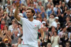 Ernests Gulbis celebrates after his upset victory over Tomas Berdych.