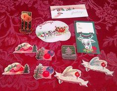 19 Lot Mixed Hallmark Gibson Vintage Christmas Tags Stickers Seals Tie Tie USA ✞   eBay