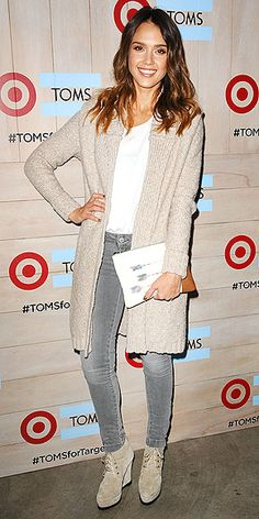 Last Night's Look: Love It or Leave It? | JESSICA ALBA | Proving that head-to-toe neutrals are always chic, Jessica tops gray skinnies and a white tee with a cozy cream oversize cardigan and matching boots at the Toms for Target Launch Event in Culver City, Califoria.