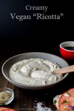 Creamy Vegan Ricotta (with firm & silken tofu and raw cashews) Vegan Cheese Recipes, No Dairy Recipes, Whole Food Recipes, Vegetarian Recipes, Cooking Recipes, Lait Vegan, Vegan Staples, Vegan Ricotta, Tofu
