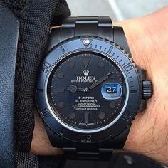 All Black Rolex Submariner by Stylish Watches, Luxury Watches For Men, Cool Watches, Rolex Watches, Rolex Wrist Watch, Wrist Watches, Black Rolex, Skeleton Watches, Hand Watch