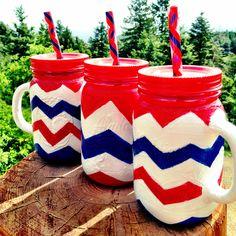 Red white and blue USA chevron mason jars