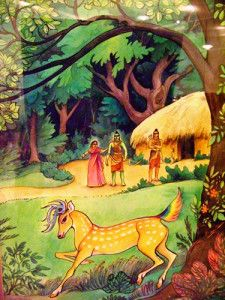 Waldorf ~ grade ~ Ancient India ~ The Ramayana ~ Sita and the Golden Deer ~ main lesson book Lord Rama Images, Deer Illustration, Chalkboard Drawings, India Art, Krishna Art, God Pictures, Sacred Art, Gods And Goddesses, Art Music