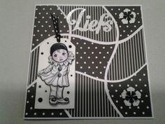Nog een zwart witte kaart label bloempons en snijmal is van Nellie Snellen en tekstmal is van Joycrafts