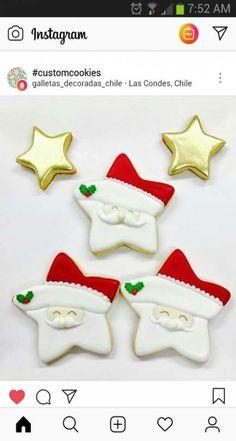Cake Christmas White Xmas 28 Ideas For 2019 Star Sugar Cookies, Christmas Sugar Cookies, Iced Cookies, Christmas Sweets, Royal Icing Cookies, Noel Christmas, Cookies Et Biscuits, Holiday Cookies, Cupcake Cookies