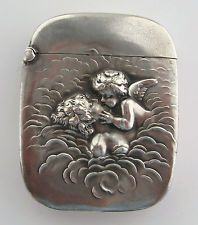 ANTIQUE FINE 925 STERLING UB UNGER REPOUSSE PSYCHE CUPID CHERUB MATCH SAFE VESTA