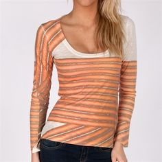 Go Couture Scoop Neck Sublimation Tee #VonMaur #GoCouture #ScoopNeck #Coral #LongSleeves