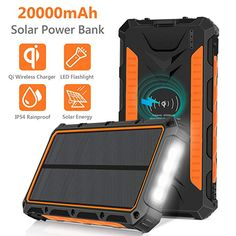 Solar Charger Qi Wireless Power Bank External Battery Pack Portable Charger Type C Input Port with LED Light Solar Panel Charging for TravelCamping Phones-Accessories Chargers Audio-Video Accessories Accessories Components Barebones Mice-Input Devices Battery Pack Charger, Solar Charger, Portable Charger, Phone Charger, Portable Solar Power, Energy Technology, Led Flashlight, Camping, Outdoor Activities