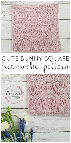 Cute Bunny Square | Free Crochet Pattner | The Unraveled Mitten | Easter | Spring | Crochet Cable Stitches | Baby Blanket | Dishcloth | Granny Square | Textured