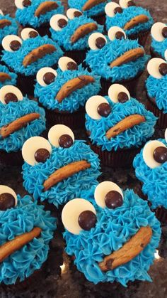 "Cookie Monster Cupcakes - ""Had fun making them! my army of monsters for Halloween :)"" @allthecooks #recipe"
