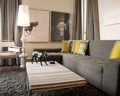 Modern Living room Grey and Yellow decor Cream Living Rooms, Living Room Grey, Living Room Modern, Living Room Sofa, Living Room Designs, Small Living, Living Area, Dining Room, Couch Design
