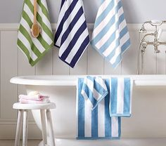 Add sporty appeal to the kids' bath. Our plush towel features bold stripes and is sewn of pure cotton terry for softness. Little Boy Bathroom, Baby Bathroom, Bathroom Towels, Striped Towels, Baby Towel, Upstairs Bathrooms, Bath Towel Sets, Boys Room Decor, Bold Stripes