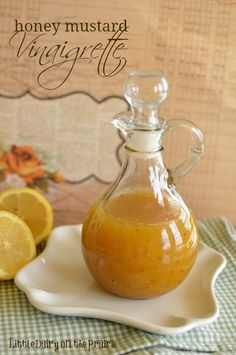 Sweet and tangy vinaigrette with course ground honey! I love making homemade salad dressings! - Little Dairy on the Prairie