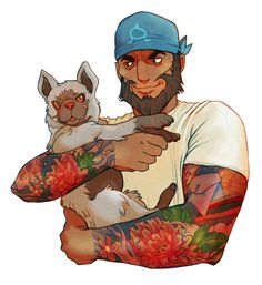 trashflatmate:  I'm not saying that Archie would besmokin' with sleeve tattoos and tight crewneck t-shirts or anything, but—…wait, no; that's precisely what I'm saying. But really, I just like beefydudes snuggling with puppies. Or Poochyena, as the case might be.