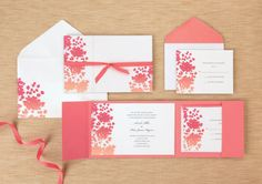 Beachy Colored Invites!- BRIDES® Warm Ombre Flower Invitations- @ Michaels