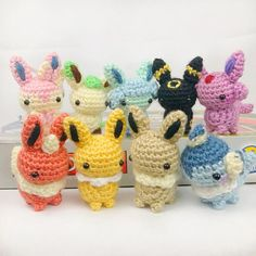 {[Etsy, no pattern]} Amigurumi Pokemon Mini Eeveelution Amigurumi Plush Keychain Crochet Kawaii, Cute Crochet, Crochet Crafts, Crochet Projects, Pokemon Crochet Pattern, Crochet Patterns Amigurumi, Crochet Dolls, Amigurumi Tutorial, Bonnet Crochet