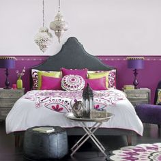 Not the colors, but love the lights and headboard I would love this in pink and black