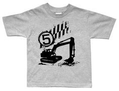 Digger Excavator Boys Birthday Construction shirt by FreshFrogTees