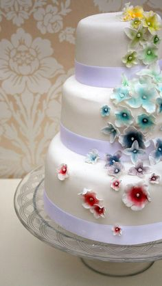 Rainbow flower wedding cake