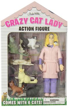 Crazy Cat Lady Action Figure - She comes with 6 cats, including on nestled in her hair! / Accoutrements