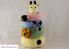 Kids love colorful toys, especially ones that make noise! Made from high quality acrylic yarn, the base is weighted with plastic pellets so it will stay. Safari Friends Crochet Stacking Ring Toy with Nois Crochet Baby Toys, Crochet For Boys, Cute Crochet, Crochet Animals, Crochet Dolls, Amigurumi Patterns, Crochet Patterns, Knitted Stuffed Animals, Crochet Rings