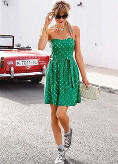 a1ac0040afe6 Kelly green bright polka dot dress  Heck yes Dress With Converse