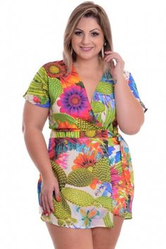 Macaquinho Plus Size Floral Green