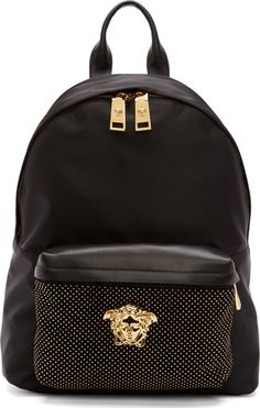 Versace Medusa Textile backpack in black Gianni Versace, Versace Bag, Versace Backpack, My Bags, Purses And Bags, Mode Style, Swagg, Hipster, Just In Case