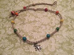 Rainbow Dancing Bear Macrame Hemp Necklace Grateful Dead (2316) by HemptressDesigns on Etsy