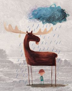 This Moose Belongs to Me by Oliver Jeffers. I have purchased this as a gift for a few little people. It's a story about how a boy finds a moose and claims his as his pet.