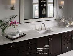 Corian Rain Cloud counter, a nice substitute for Carrara marble, especially in a wet area like a bathroom.