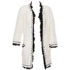Chanel Ivory Crochet Knit Cardigan With Black Silk Chiffon Trim, Spring 2005   1stdibs.com