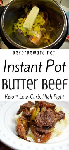 This Instant Pot butter beef recipe made with butter, ranch, Italian seasoning, and banana pepper rings is full of flavor, tender to eat and perfect as a sandwich or over mashed potatoes. For those of you trying to eat keto or low-carb this is also a perfect recipe for your diet plan. #Keto #InstantPot #Butter