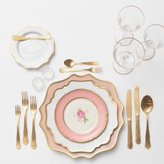 In a pink + gold state of mind  Our Anna Weatherley Chargers in Desert Rose + Anna Weatherley China in White + The Botanicals Collection Vintage China + Chateau Flatware + Gold Rimmed Stemware + Antique Crystal Salt Cellars #cdpdesignpresentation