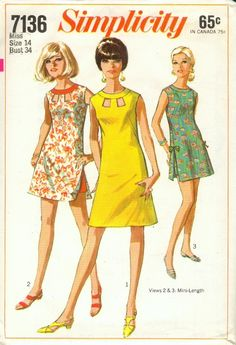 "Simplicity 7136; ©1967; Juniors' and Misses' Dress or Beach-Dress in Two Lengths and Shorts: The sleeveless and collarless dress has high round neckline with neck band and back zipper. V. 1 & 2 have ""peek-a-boo"" openings at neck edge. V. 1 is regular length. Above knee-length V. 2 & 3 have slits at side seams and lined shorts with side zipper. V. 2 has contrasting neck band and shorts. V. 3 has matching shorts and self fabric bows. [insert your photos of this pattern made up]"